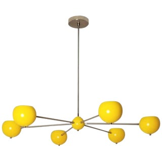 """Aster"" Chandelier in Polished Nickel + Yellow Enamel by Blueprint Lighting, 2017 For Sale"