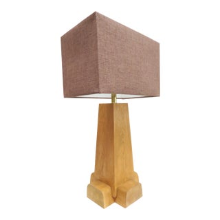 Rustic Modern Pine Cross Base Table Lamp by Martin and Brockett With Shade For Sale