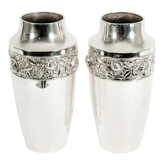 Antique English Silver Plated Hand Chased Vases / Pieces - A Pair For Sale
