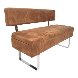 Midcentury Upholstered Bench With Storage Compartment For Sale