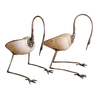 1970s Gabriella Binazzi Bronze and Seashell Bird Sculptures - a Pair For Sale
