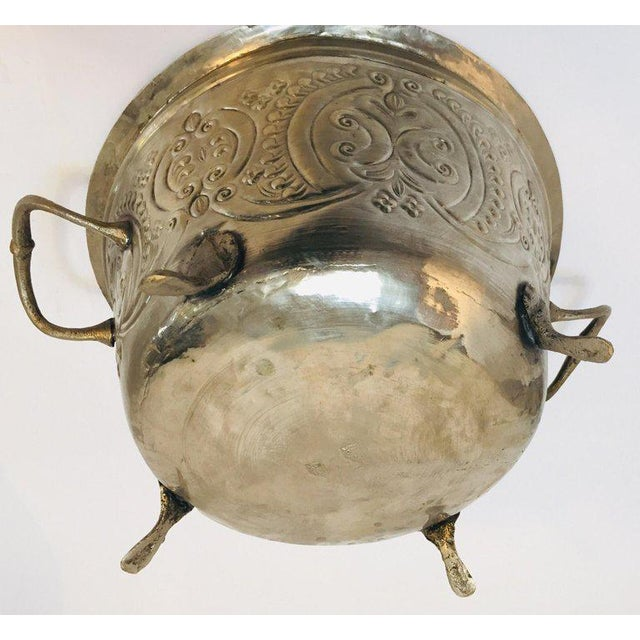 Gold Moroccan Silver Repousse Plated Serving Dish Tajine With Cover For Sale - Image 8 of 13