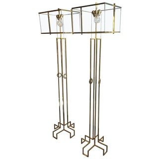 "Pair of Charles Hollis Jones ""Ear-Ring"" Floor Lamps in Brass For Sale"