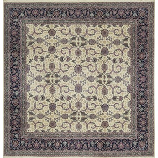 Traditional Hand Woven Ivory and Navy Wool Rug 10' X 10' For Sale