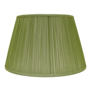"Shirred Silk Lamp Shade 14"", Avocado For Sale"
