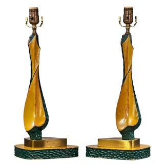 1950's Modern Carved Wood and Brass Table Lamps - a Pair For Sale