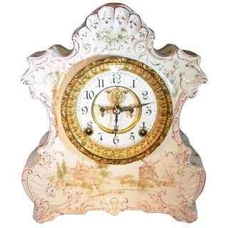 Antique Ansonia Porcelain Mantel Clock With Dutch Countryside Scene For Sale