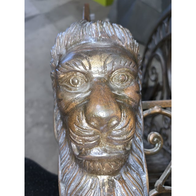 Metal 1960s Regency Style Bronzed Magazine Rack With Scrolled Design Lion Supports For Sale - Image 7 of 11