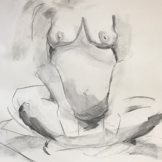 Figurative Seated Pregnant Nude Drawing For Sale - Image 3 of 4