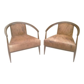 Mid Century Style Lounge Chairs With Leather Hyde For Sale