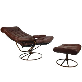 Bronze Ekornes Stressles Lounge Chair & Ottoman For Sale