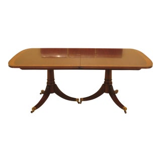 1990s Traditional White Furniture Company Banded Walnut Dining Room Table For Sale