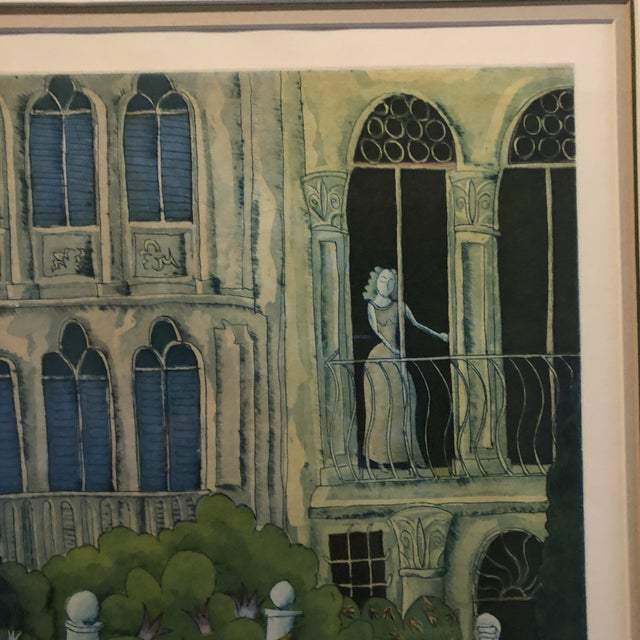 Blue Thomas McKnight Framed Color Etching Venetian Idyll 99/100 Pencil Signed 1981 For Sale - Image 8 of 13