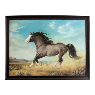 "Ute Simon ""Surprise"" American Bashkir Curly Horse Painting"