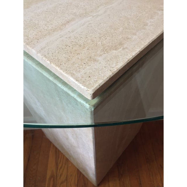 Modern 1980s Postmodern Geometric Travertine and Glass Console Table For Sale - Image 3 of 11