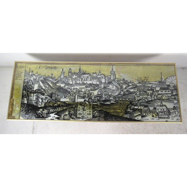 Stunning vintage table features detailed illustration of Praga, a district in Warsaw, Poland. Highly detailed drawing...