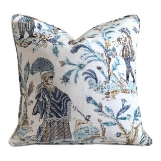 Thibaut Royale Toile in Turquoise and Navy Designer Pillow Cover For Sale