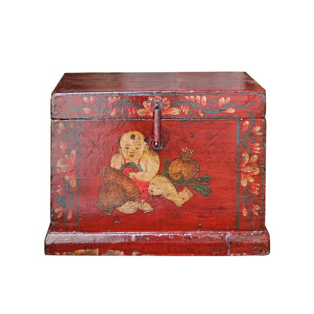 Wood Chinese Vintage Red Kids Theme Trunk Box Chest For Sale - Image 7 of 9