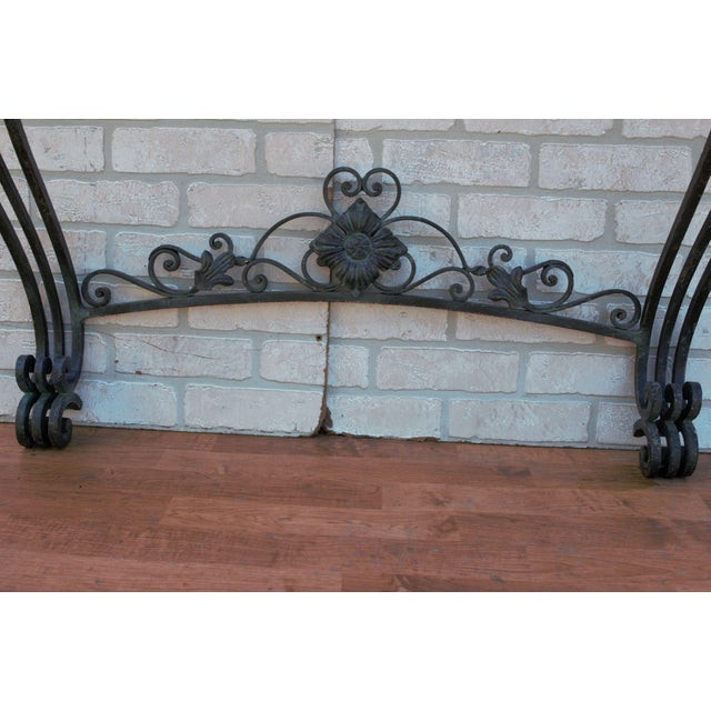Antique French Victorian Wrought Iron Base Console Table For Sale In Chicago - Image 6 of 13