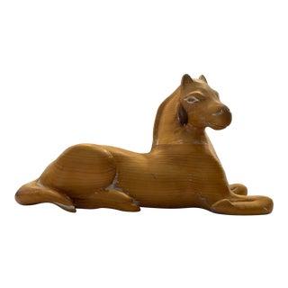 Italian Blonde Wood Horse Sculpture For Sale