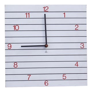 Square Black and White Wall Clock by Raymor For Sale