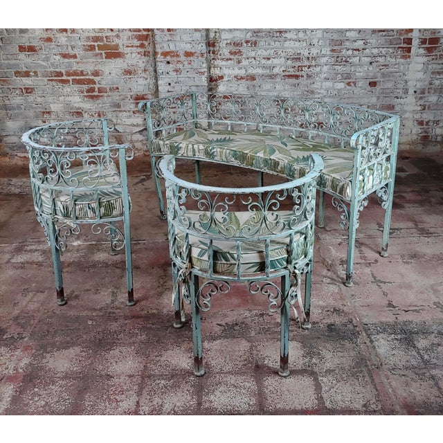 Cast Iron Art Nouveau Antique Cast Iron Patio & Garden Settee & 2 Chairs Set For Sale - Image 7 of 10