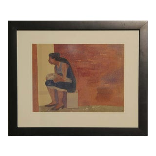 """1955 """"Woman and Child Seated Against a Wall"""" Watercolor Painting by Luis Eades, Framed For Sale"""