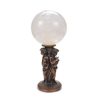 Crystal Ball on Bronze Figural Stand