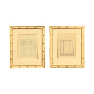 Neoclassical Custom Pair Cream & Gilt Frame Pair Pencil & Watercolor Paintings of French Armoires For Sale
