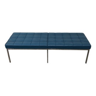 Design Within Reach Florence Knoll Blue Leather Bench