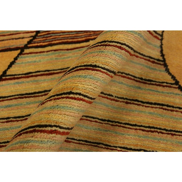 Contemporary Shabby Chic Gabbeh Peshawar Cecil Tan/Red Hand-Knotted Wool Rug -3'0 X 5'1 For Sale - Image 3 of 8