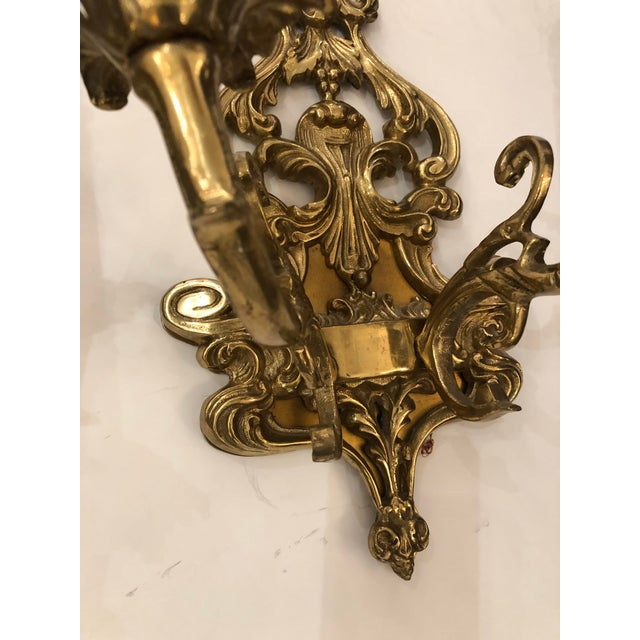 Louis XV Style Cast Bronze 2 Branch Wall Sconces -Pair For Sale - Image 4 of 9