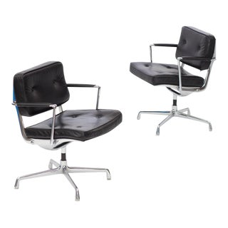 Eames Intermediate Desk Chair 1968 In Black Leather