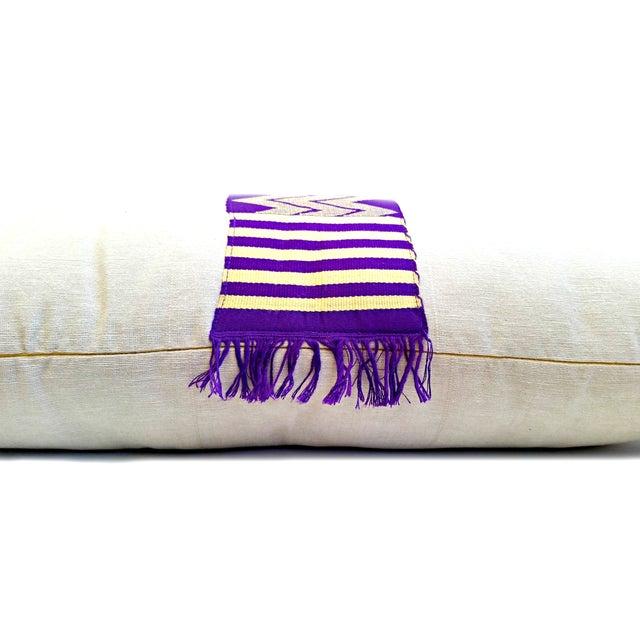 Vintage Linen African Kente Cloth Lumbar Pillow - Image 2 of 5