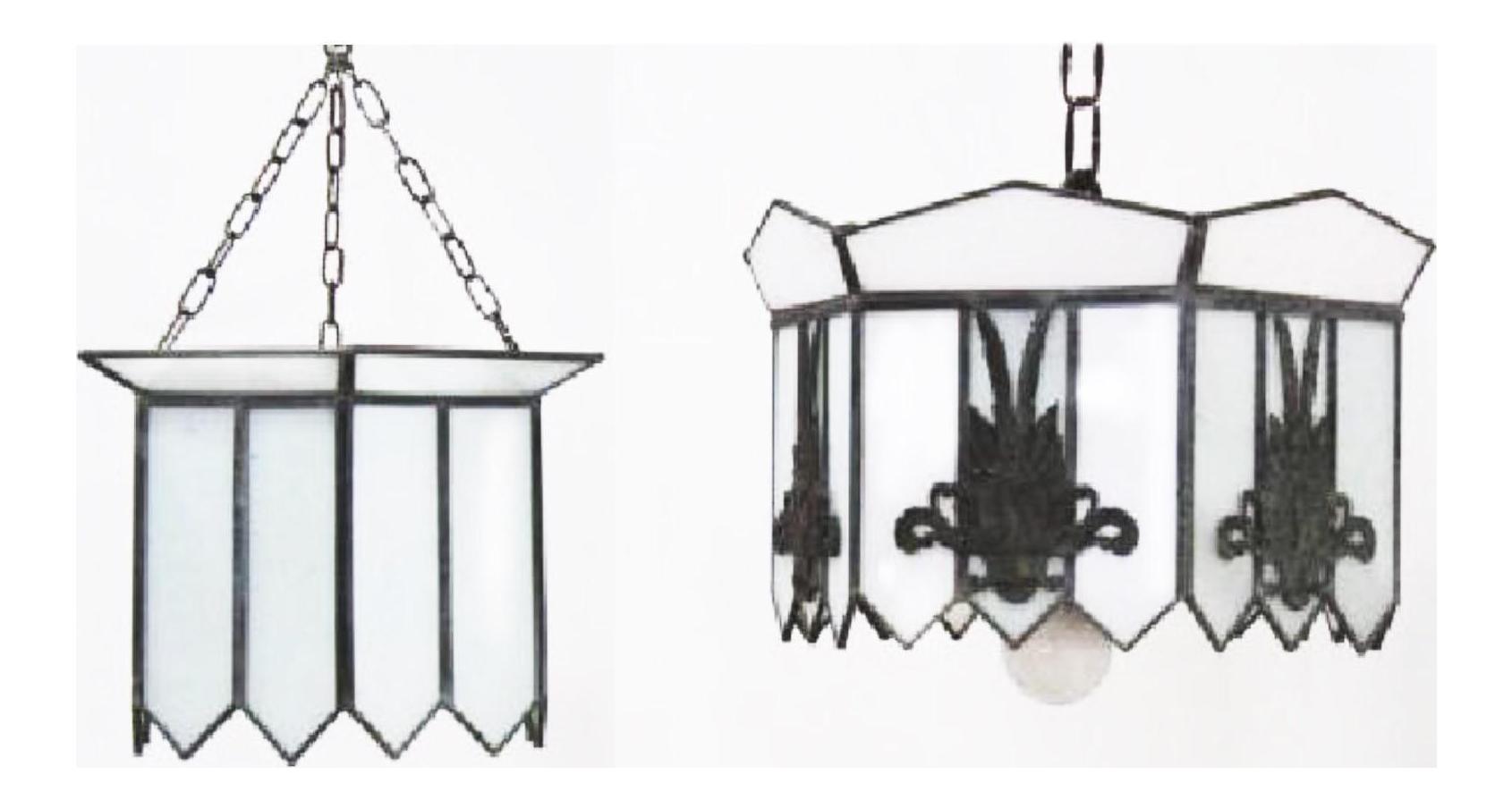 Leaded Glass Opaline Art Deco Pendant