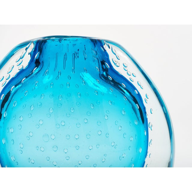 """Glass Blue Murano Glass """"Sommerso"""" Vase For Sale - Image 7 of 10"""