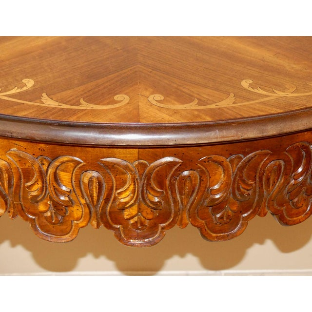 Italian Hand Carved Inlaid Wood Demilune Console Table For Sale - Image 11 of 13