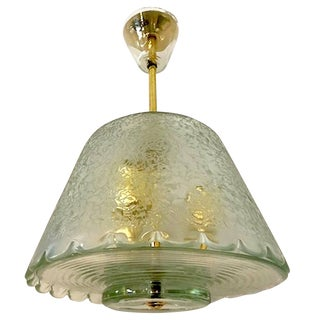 Italian 1940s Acid Etched Glass and Brass Pendant Light For Sale
