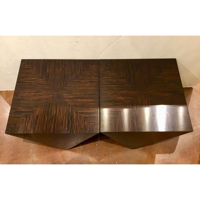 John Richard Art Deco Inspired Macassar Ebony Finished Wood Amara Point Side Tables Pair For Sale - Image 4 of 6