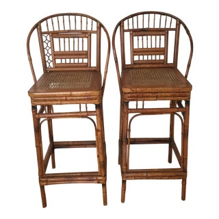 Brighton Pavilion Style Bamboo Bar Stools - a Pair For Sale