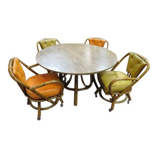 Vintage Mid Century Modern Rattan Dining Set - 5 Pieces For Sale