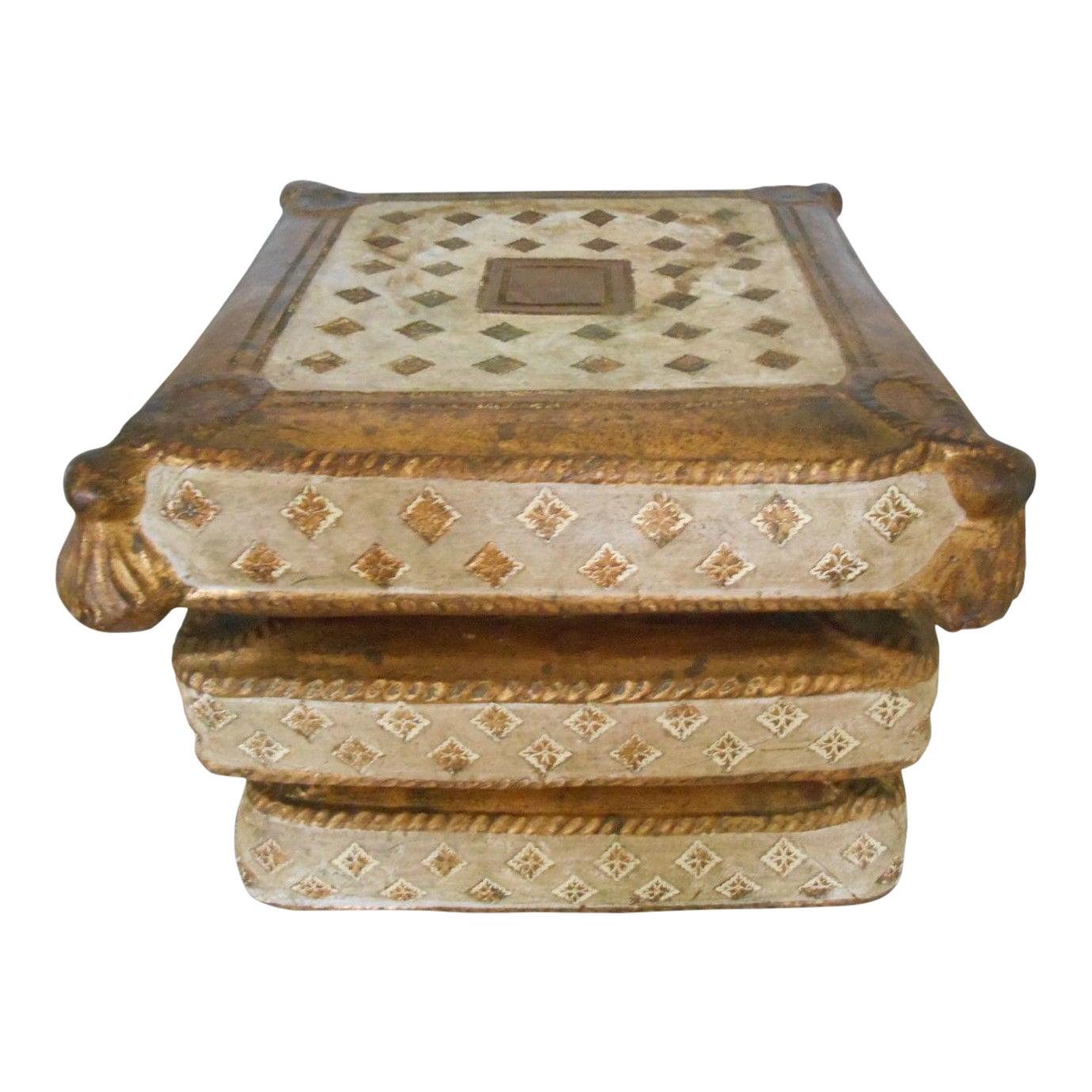 Vintage Italian Pillow Books Garden Stool Seat   Chairish