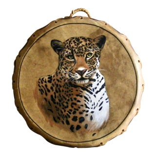 1980s Giovanna Paponetti Native American Hand Painted Leopard Drum & Striker - 2 Pieces For Sale