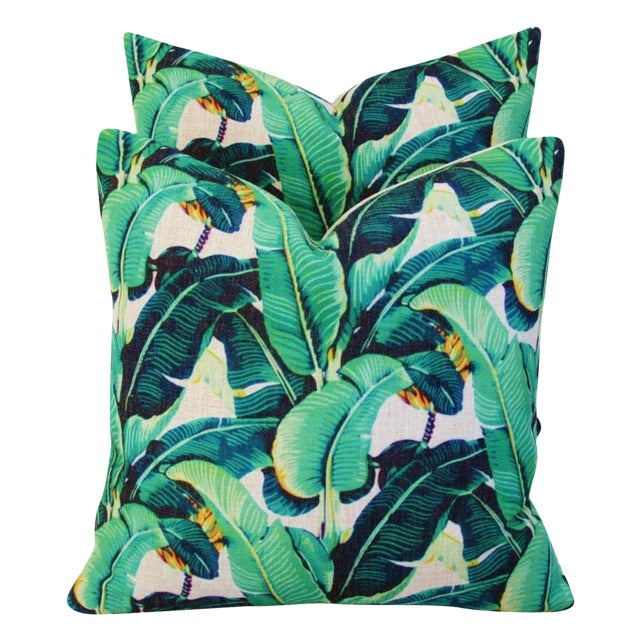 Dorothy Draper-Style Banana Leaf Pillows - A Pair - Image 1 of 10