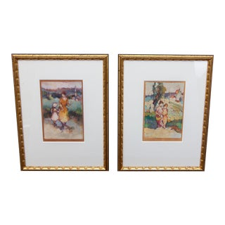 Antique French Impressionist Prints by Edna Gass - a Pair Framed For Sale