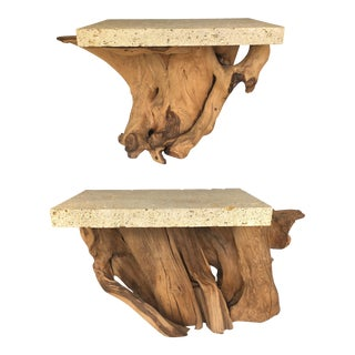 Pair of Iconic Fossil Stone Side Tables by Michael Taylor For Sale