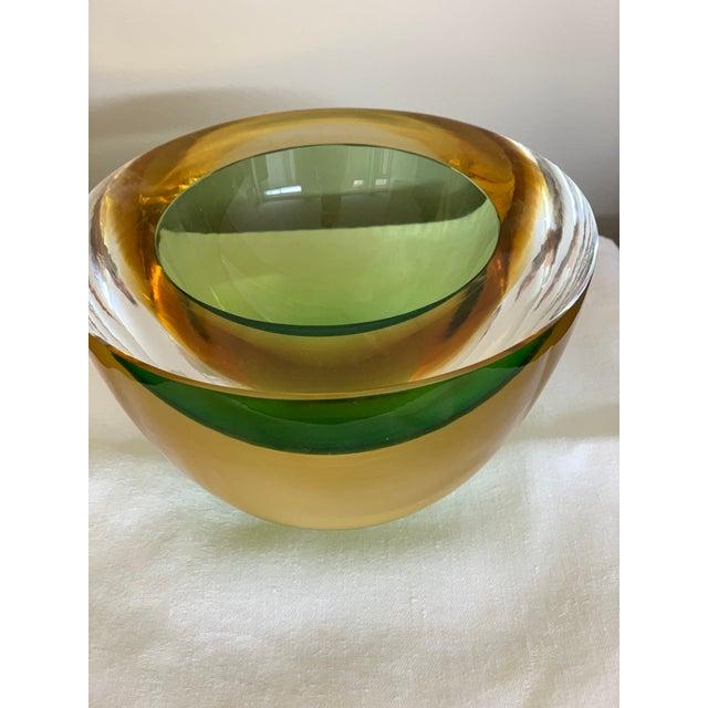 Contemporary Luigi Onesto Two-Tone Glass Bowl For Sale - Image 3 of 7