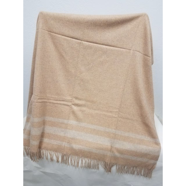 English Merino Wool Throw Light Salmon With Soft White Stripes - Made in England For Sale - Image 3 of 9