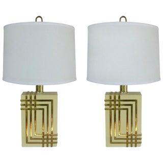 Mid-Century Modern Brass Table Lamps w/ Drum Shades - a Pair For Sale