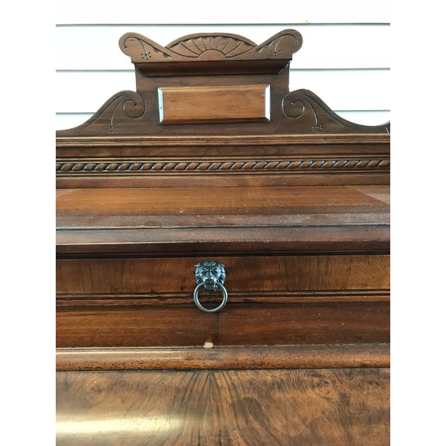 Wood 19th Century American Classical Cylinder Rolltop Secretary Desk For Sale - Image 7 of 13